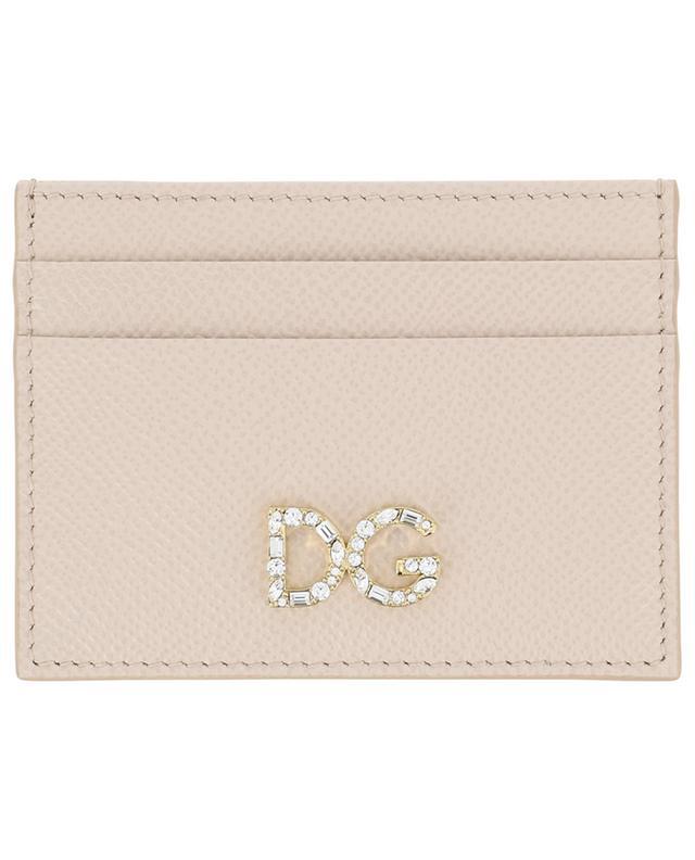 Porte-cartes en cuir Dauphine DG Logo Strass DOLCE & GABBANA