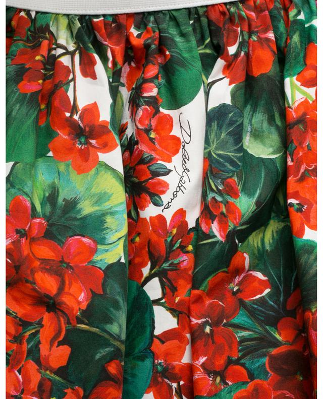 Jupe courte évasée en popeline fleurie Portofino DOLCE & GABBANA