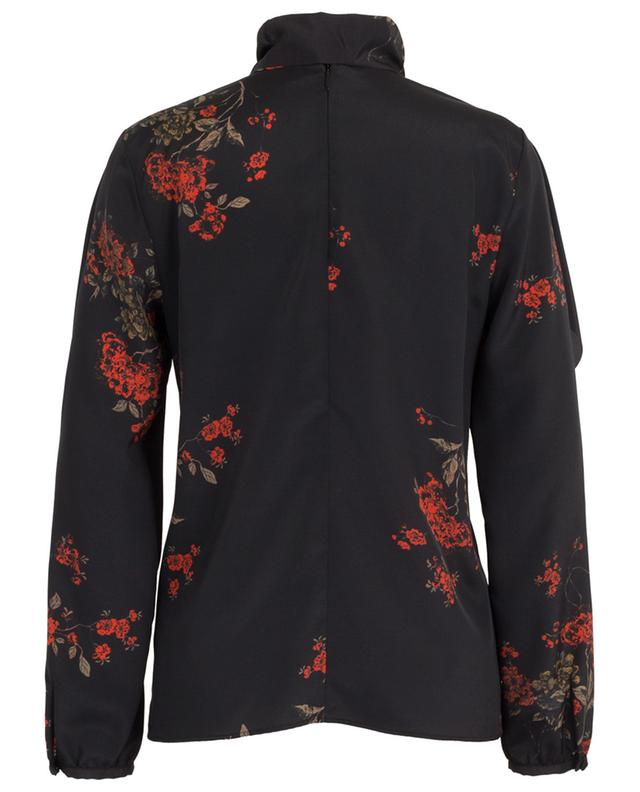 Oriental Flowers ruffled blouse with necktie RED VALENTINO