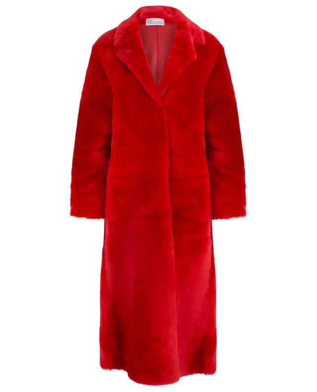 Manteau en peau lainée rouge RED VALENTINO