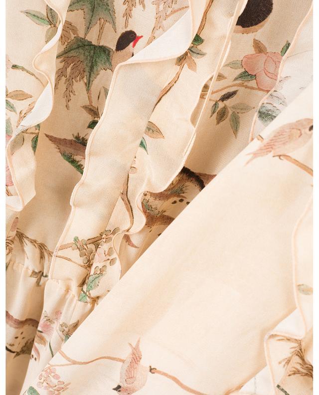 Robe longue en soie imprimée d'oiseaux Chinese Lacquer RED VALENTINO