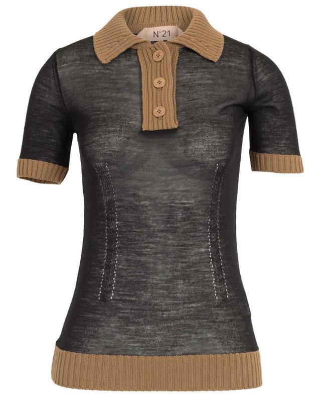 Sheer bi-material knit polo shirt N°21