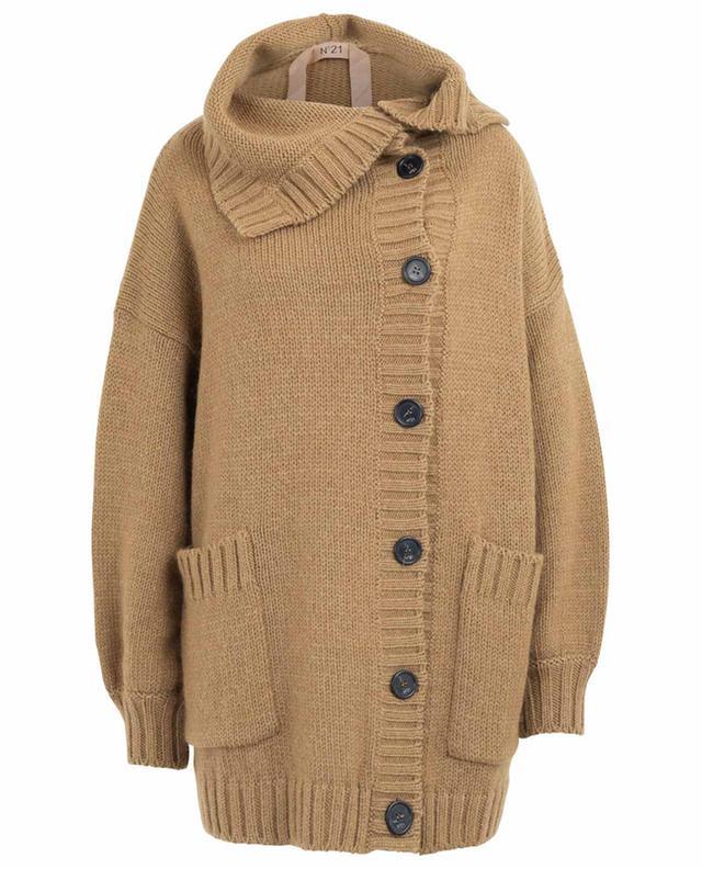 Cardigan long boutonné en laine mélangée N°21