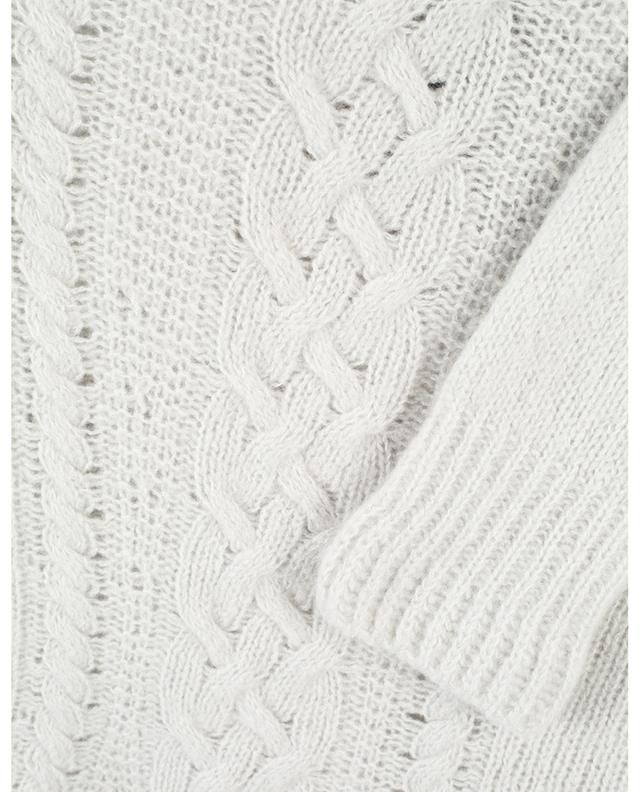 Cashmere and silk cable knit jumper with stand-up collar MARC CAIN