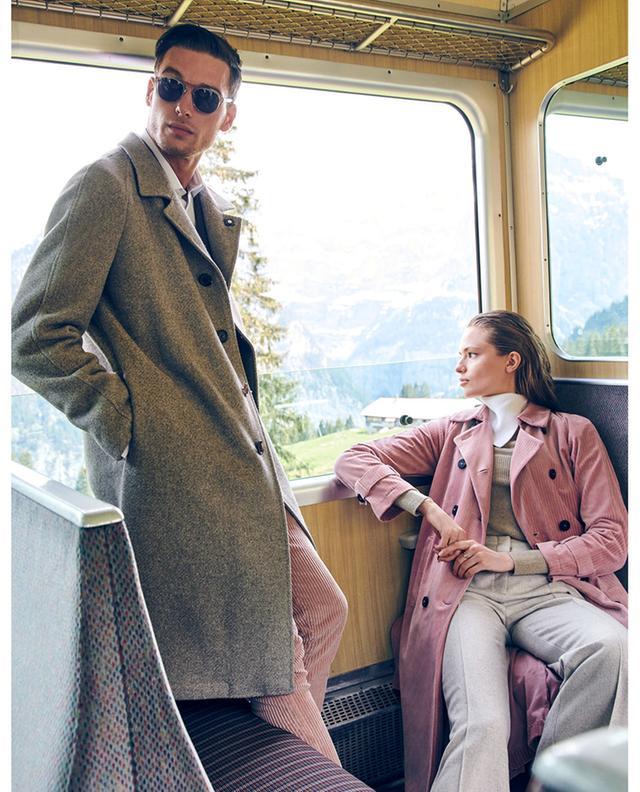 Corduroy trench coat with raglan sleeves HARRIS WHARF