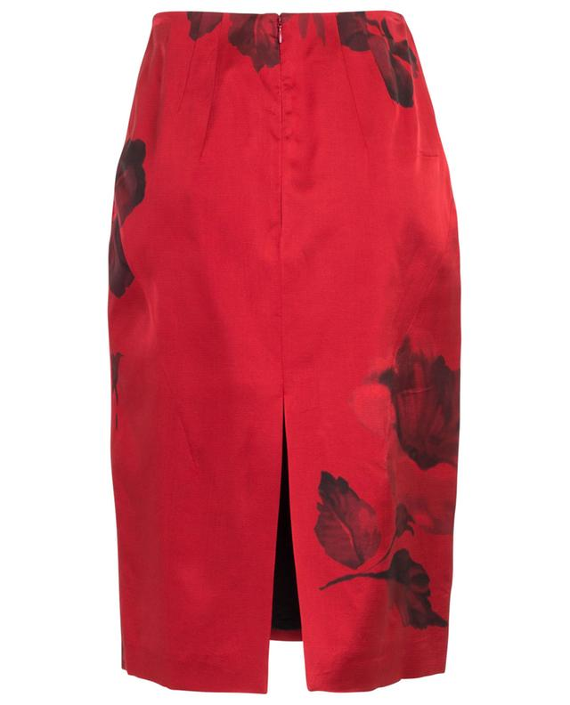 Jupe crayon rouge imprimé fleurs N°21