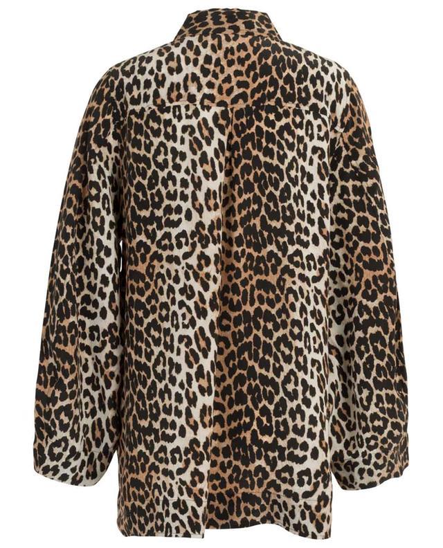 Chemise en soie mélangée à imprimé léopard GANNI