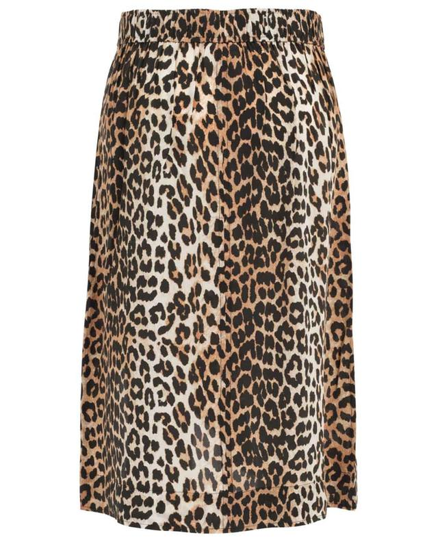 Jupe midi en soie mélangée imprimée léopard GANNI