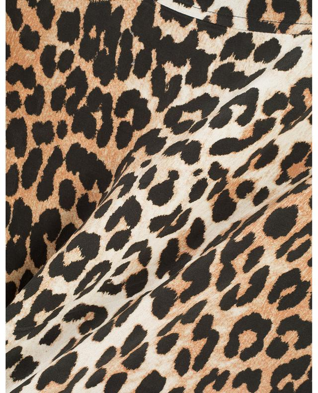 Midirock aus Seidenmix mit Leopardenprint GANNI