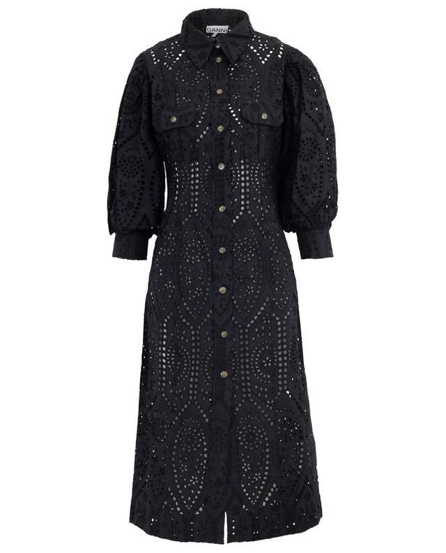 Robe chemise ajustée ornée de broderies anglaises GANNI
