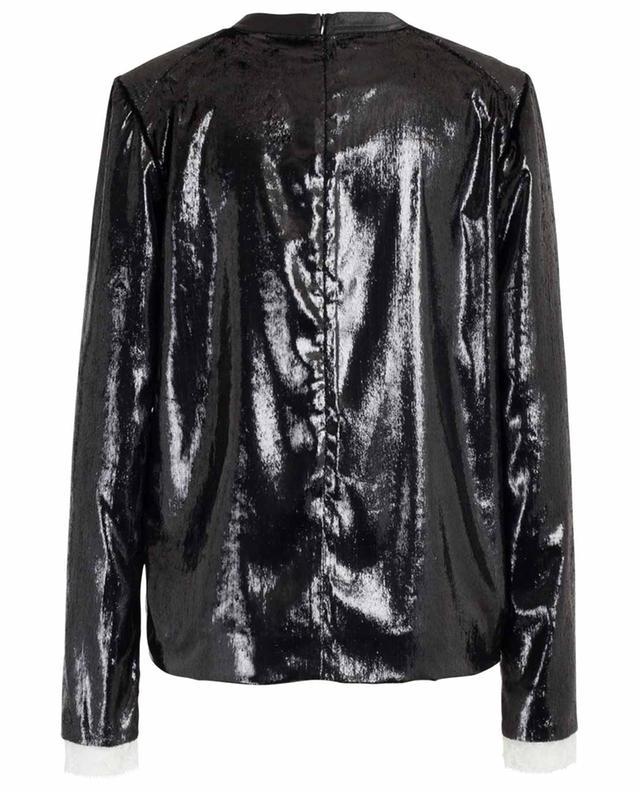 Glitter and lace long-sleeved top with shoulder pads PHILOSOPHY