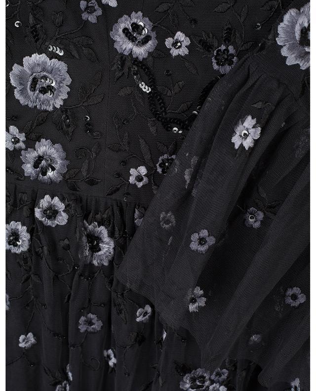 Robe courte en tulle brodée de fleurs Dahlia NEEDLE &THREAD