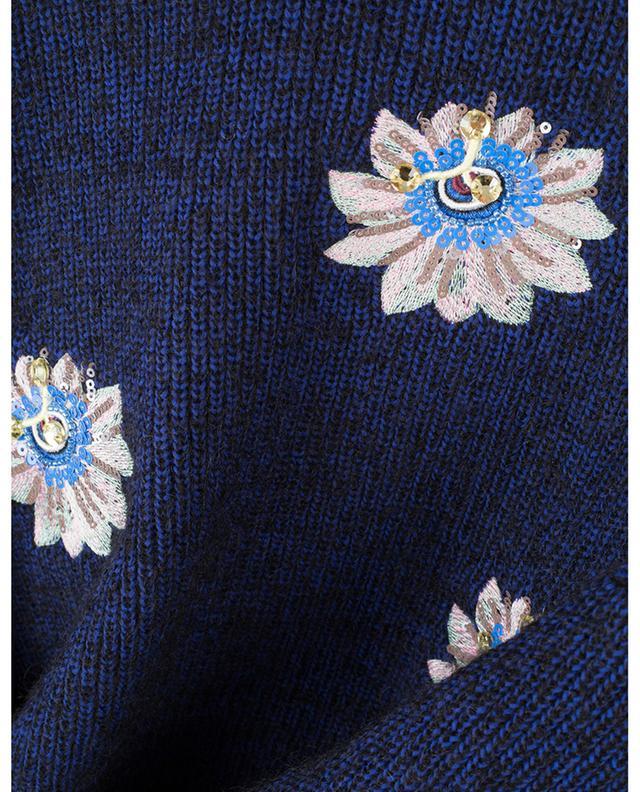 Pull chiné brodé de sequins Passion Flower KENZO