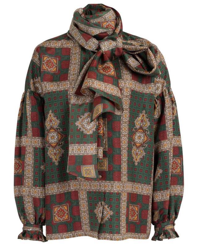 Blouse en sergé de soie imprimée foulard avec lavallière ETRO