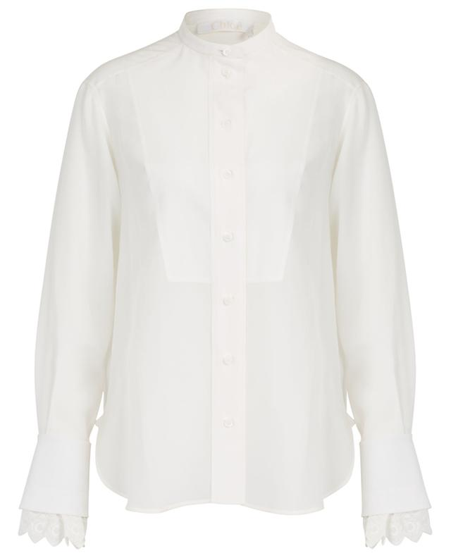 Chloé C silk shirt with bib and embroidered cuffs CHLOE