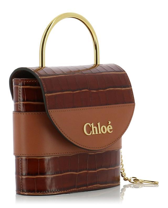Handtasche aus Leder in Kroko-Optik Aby Lock Small CHLOE