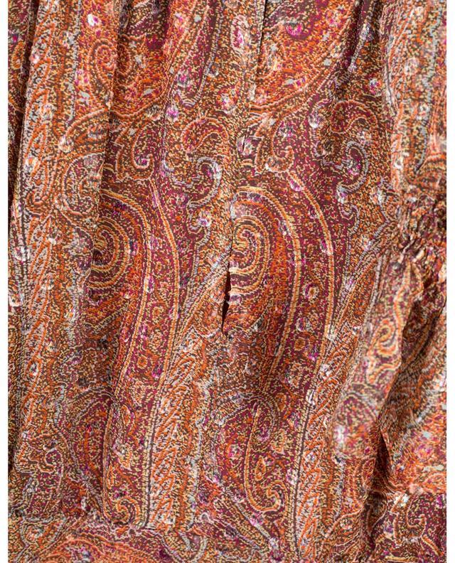 Robe en mousseline imprimée paisley et pois en velours ETRO