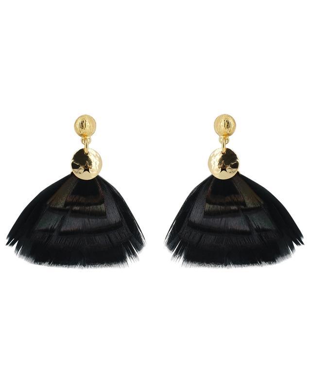 Bermudes Mini real bird feather adorned earrings GAS BIJOUX