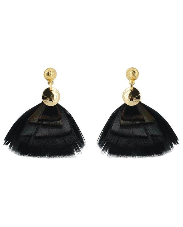 Bermudes Mini real bird feather adorned earrings GAS BIJOUX