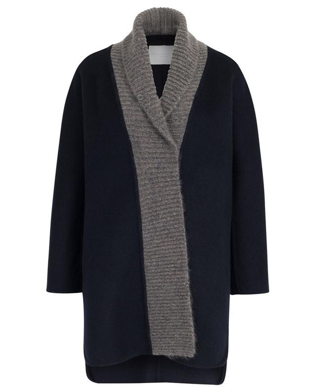 Manteau en laine et mohair à bords côtelés scintillants FABIANA FILIPPI