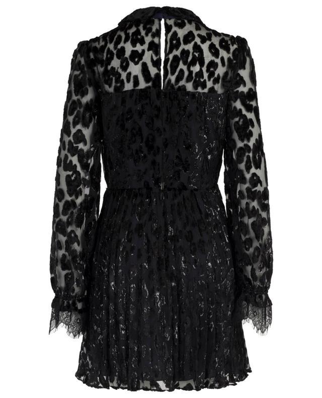 Metallic Leopard mini dress with pleated skirt SELF PORTRAIT