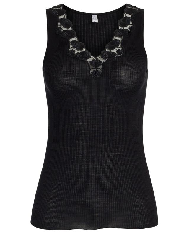 Ribbed undershirt with floral lace LISANZA