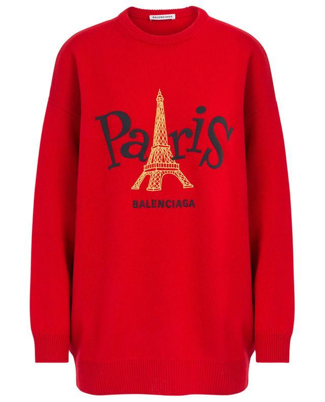 Pull en cachemire long et ample brodé Paris Joy BALENCIAGA