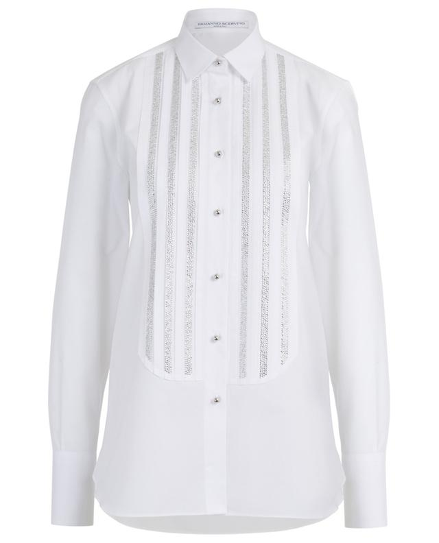 Long tuxedo spirit shirt adorned with rhinestone ERMANNO SCERVINO