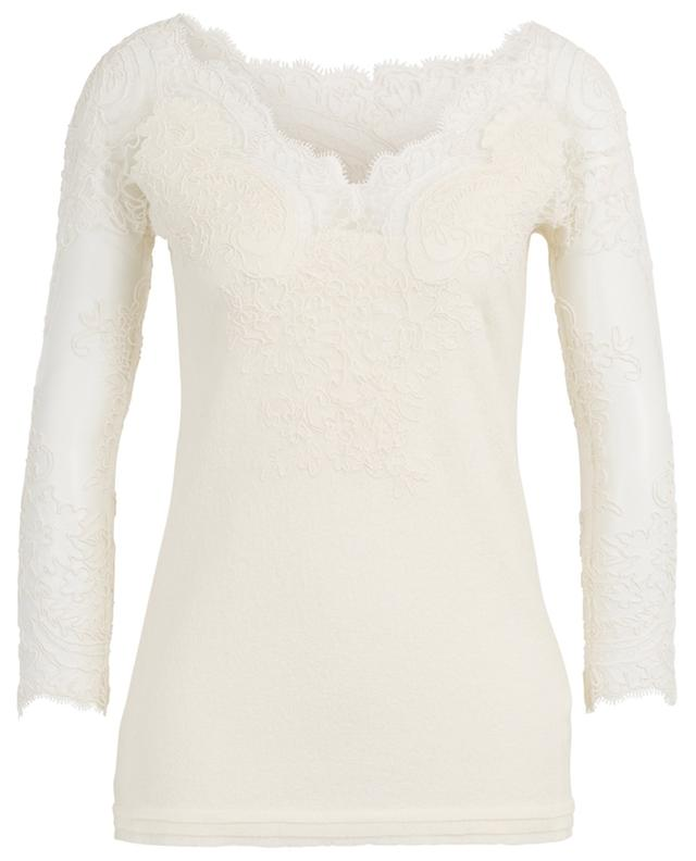 Fitted bouclé top adorned with embroidered tulle ERMANNO SCERVINO