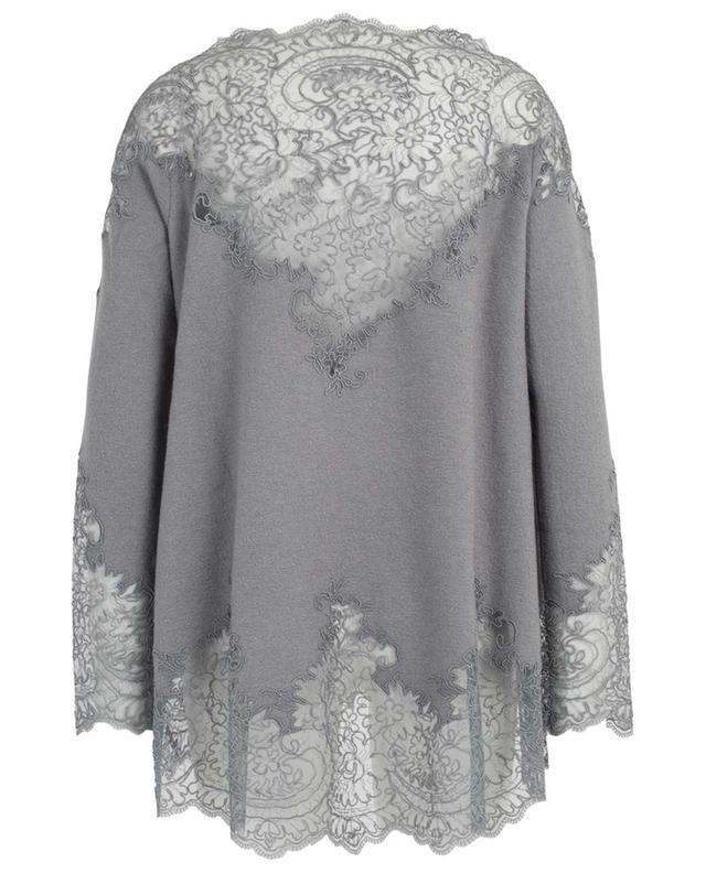 Loose bouclé top adorned wtih embroidered tulle ERMANNO SCERVINO