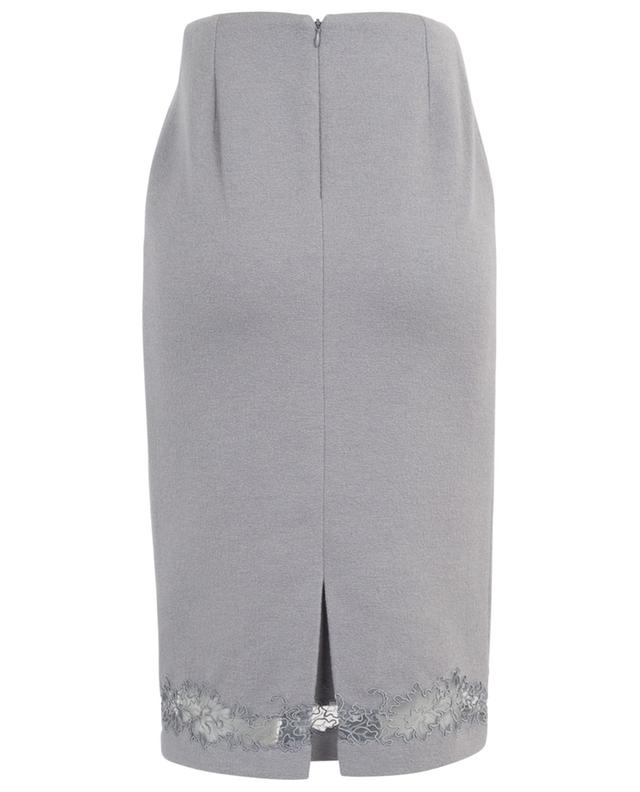 Bouclé kit pencil skirt with embroidered tulle yoke ERMANNO SCERVINO