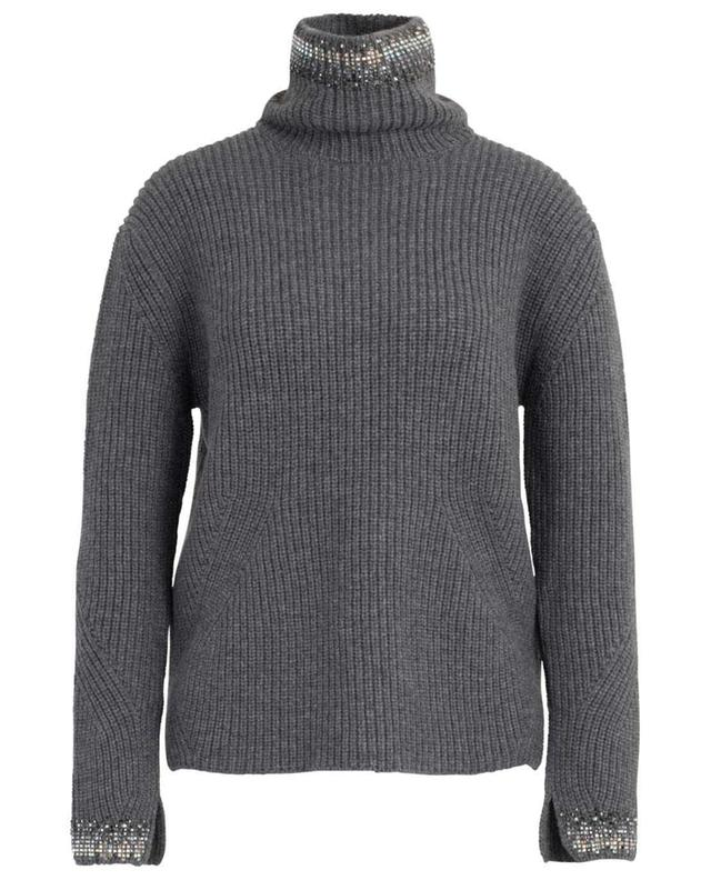 Crystal embellished rib knit jumper with stand-up collar ERMANNO SCERVINO