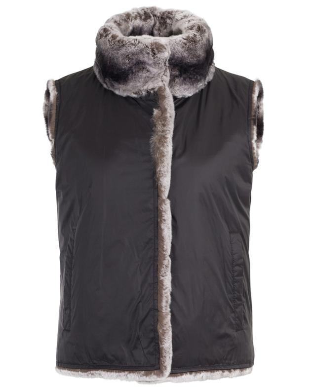 Reversible fur and nylon gilet New Chincilla YVES SALOMON