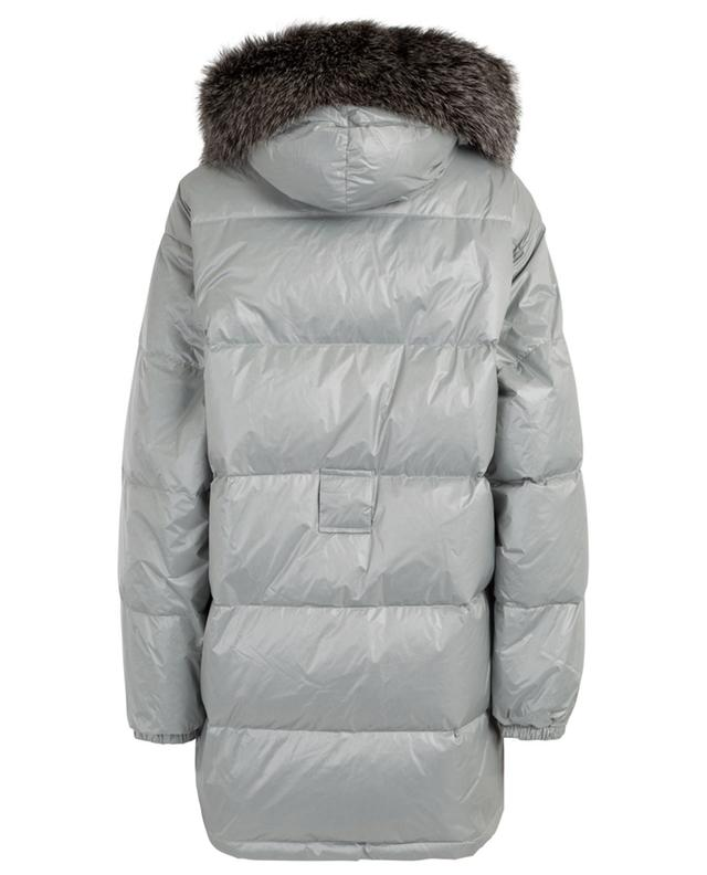 Hooded and belted down jacket with fur YVES SALOMON