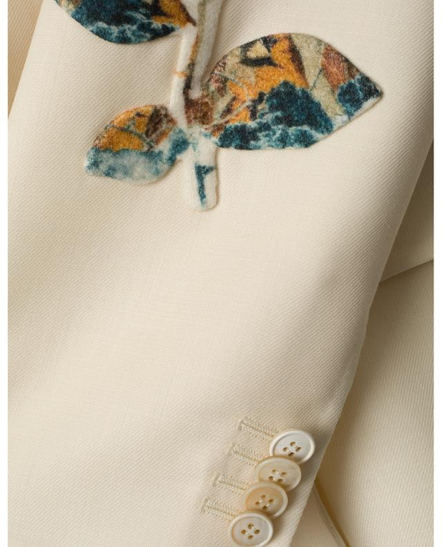 Blazer en laine vierge brodé d'une fleur Undercover VALENTINO