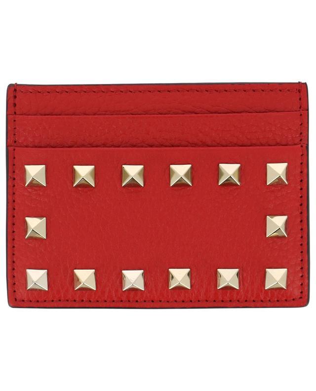 Rockstud grained leather card holder VALENTINO