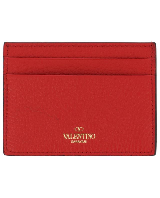 Porte-cartes en cuir grainé Rockstud VALENTINO