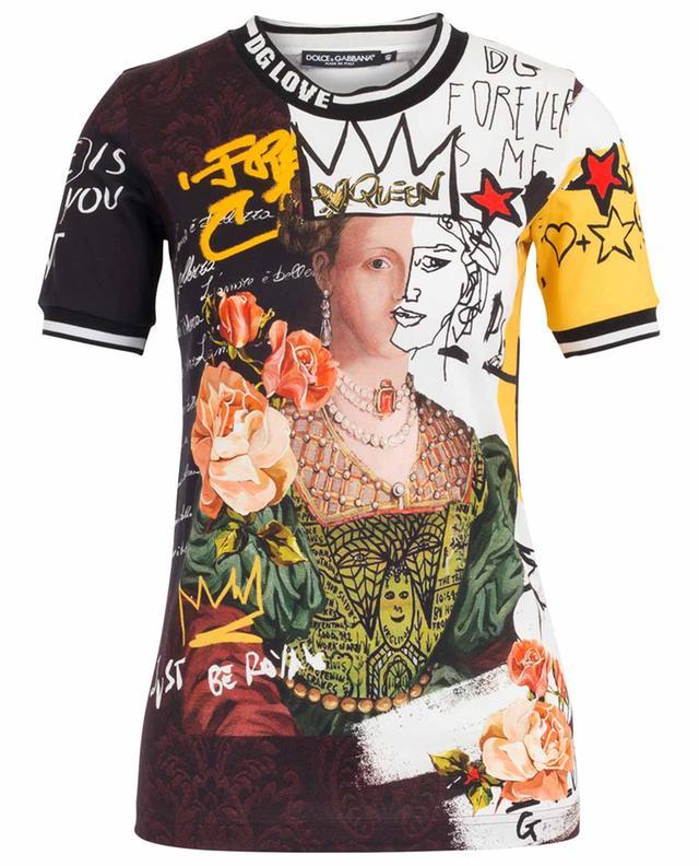 T-shirt imprimé à manches courtes Graffiti Queen DOLCE & GABBANA
