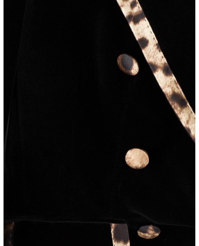 Blazer à double boutonnière en velours détail léopard DOLCE & GABBANA