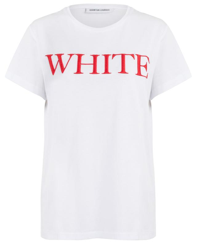 White slogan boyfriend T-shirt QUANTUM COURAGE