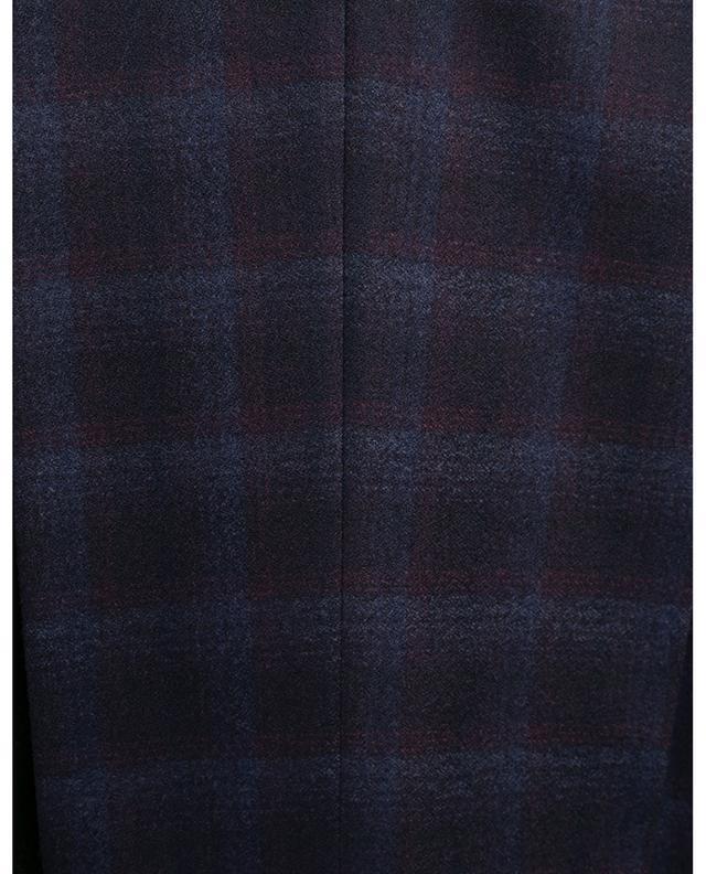 Pantalon slim à carreaux en laine vierge PT01