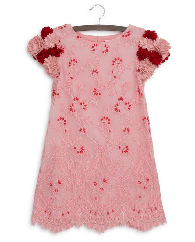 Elisa flower embellished lace dress CHARABIA
