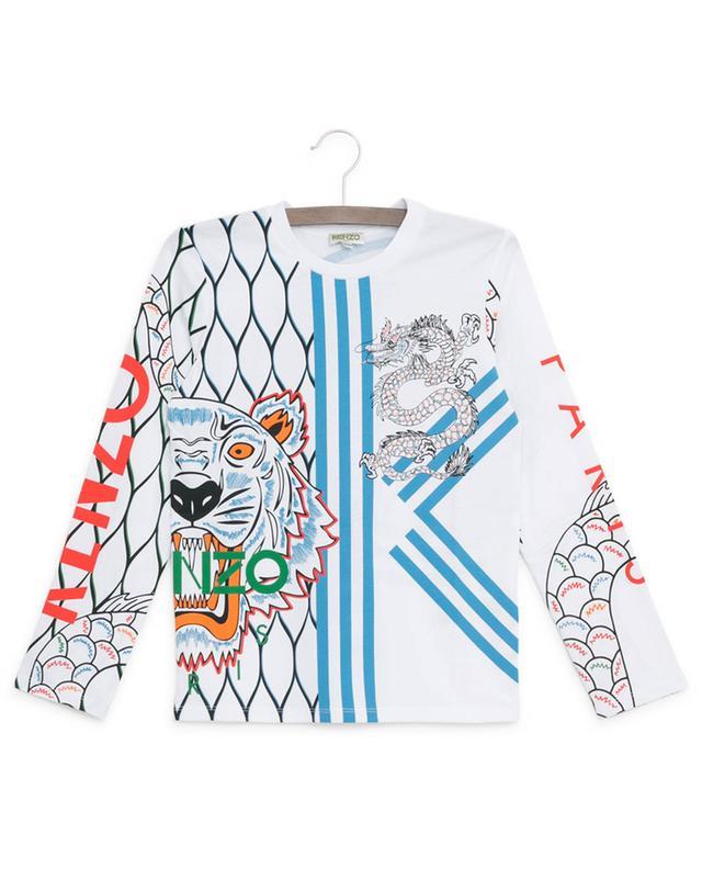 T-shirt à manches longues en coton imprimé Japanese Dragon KENZO