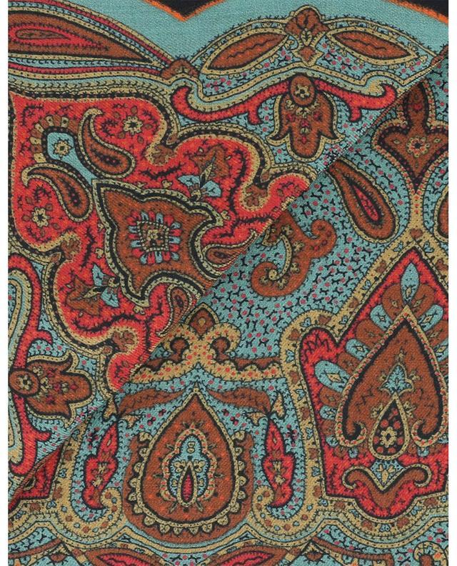 Foulard carré imprimé paisley en laine et soie ETRO