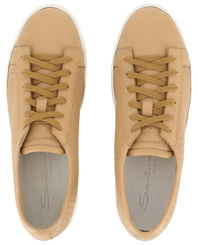 Check pattern perforated low-top leather sneakers SANTONI