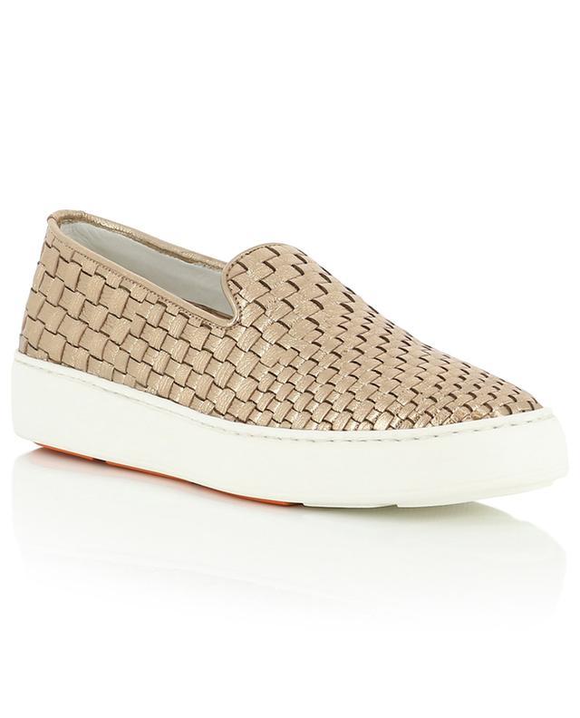 Malin braided metallic leather slip-on sneakers SANTONI