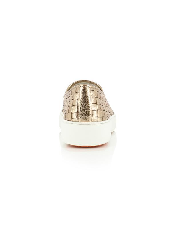 Baskets slip-on en cuir métallisé tressé Malin SANTONI