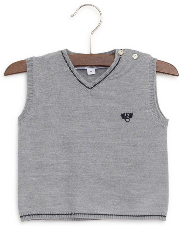 La Cérémonie wool sleeveless jumper with embroidered logo TARTINE ET CHOCOLAT