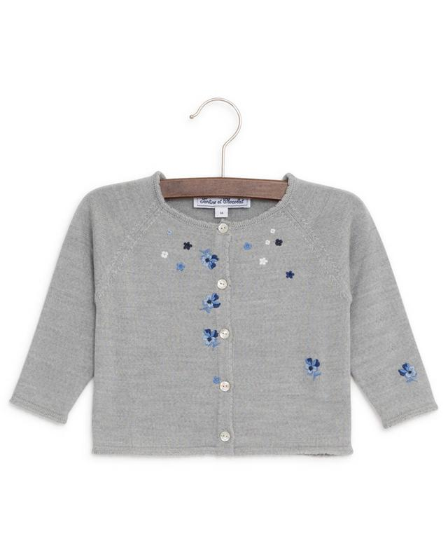 Grand Maman wool cardigan with embroidered flowers TARTINE ET CHOCOLAT