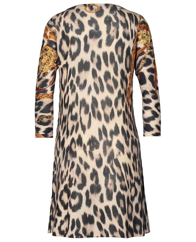 Mid-length wool and cashmere leopard print dress PRINCESS